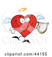 Clipart Illustration Of A Red Heart Angel Character Flying With A Lyre