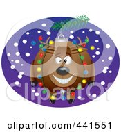 Royalty Free RF Clip Art Illustration Of A Cartoon Reindeer Christmas Ornament by toonaday