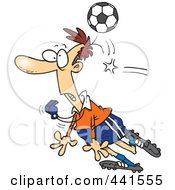 Cartoon Soccer Ball Hitting A Referee