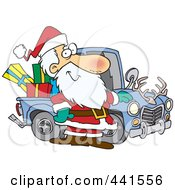Cartoon Santa Standing By His Redneck Truck