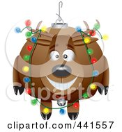 Royalty Free RF Clip Art Illustration Of A Cartoon Reindeer Christmas Bauble by toonaday
