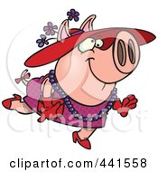 Royalty Free RF Clip Art Illustration Of A Cartoon Stylish Pig Wearing A Hat by toonaday
