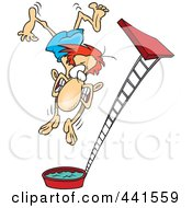 Royalty Free RF Clip Art Illustration Of A Cartoon Regretful Man Falling From A High Dive by toonaday