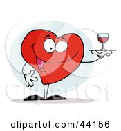 Clipart Illustration Of A Smiling Red Heart Serving A Glass Of Red Wine by Hit Toon