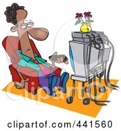 Royalty Free RF Clip Art Illustration Of A Cartoon Black Businessman Watching TV by toonaday