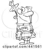 Royalty Free RF Clip Art Illustration Of A Cartoon Black And White Outline Design Of A Saluting Royal Canadian Mounted Police Man