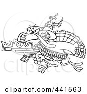 Royalty Free RF Clip Art Illustration Of A Cartoon Black And White Outline Design Of A Rambo Thanksgiving Turkey Bird