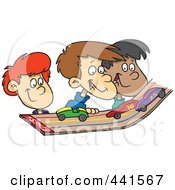 Royalty Free RF Clip Art Illustration Of A Cartoon Group Of Kids Playing With Toy Cars On A Track by toonaday