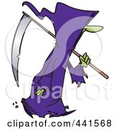 Royalty Free RF Clip Art Illustration Of A Cartoon Walking Grim Reaper by toonaday