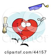 Clipart Illustration Of A Celebrating Graduate Character Holding A Diploma And Tossing His Cap