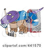 Royalty Free RF Clip Art Illustration Of A Cartoon Raptor Goalie