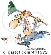 Cartoon Angry Man Chasing A Falling Leaf