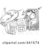 Cartoon Black And White Outline Design Of A Raptor Goalie