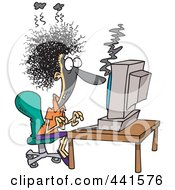 Royalty Free RF Clip Art Illustration Of A Cartoon Woman Covered In Soot At A Computer