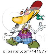 Royalty Free RF Clip Art Illustration Of A Cartoon Duck Rapper by toonaday