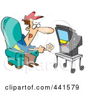 Royalty Free RF Clip Art Illustration Of A Cartoon Race Fan Watching Tv by toonaday