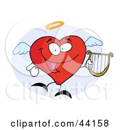 Clipart Illustration Of An Angel Red Heart Character Flying With A Lyre by Hit Toon