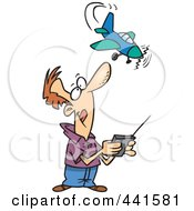 Royalty Free RF Clip Art Illustration Of A Cartoon Man Flying A Remote Control Plane by toonaday