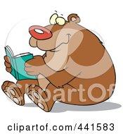 Royalty Free RF Clip Art Illustration Of A Cartoon Happy Bear Reading
