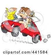 Royalty Free RF Clip Art Illustration Of A Cartoon Family Driving A Rally by Ron Leishman