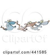 Royalty Free RF Clip Art Illustration Of Cartoon Rats Racing