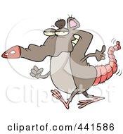 Royalty Free RF Clip Art Illustration Of A Cartoon Rat Walking by toonaday