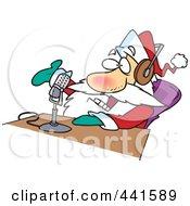 Royalty Free RF Clip Art Illustration Of A Cartoon Santa Talking On The Radio