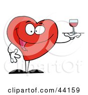 Clipart Illustration Of A Happy Red Heart Serving A Glass Of Red Wine by Hit Toon