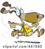 Royalty Free RF Clip Art Illustration Of A Cartoon Dog Running In A Race