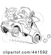 Royalty Free RF Clip Art Illustration Of A Cartoon Black And White Outline Design Of A Family Driving A Rally by toonaday