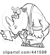 Royalty Free RF Clip Art Illustration Of A Cartoon Black And White Outline Design Of A Business Rhino Reading A Memo