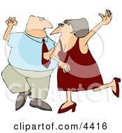 Man And Woman Husband And Wife Dancing Together On A Dance Floor Clipart