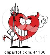 Clipart Illustration Of A Naughty Red Heart Character Devil by Hit Toon