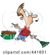 Royalty Free RF Clip Art Illustration Of A Cartoon Whistling Man Raking Leaves