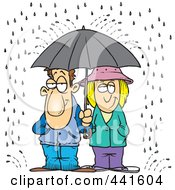 Cartoon Couple Sharing An Umbrella In The Rain