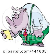 Royalty Free RF Clip Art Illustration Of A Cartoon Business Rhino Reading A Memo