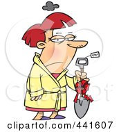 Royalty Free RF Clip Art Illustration Of A Cartoon Grumpy Woman Holding A Shovel As A Gift by toonaday