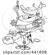 Cartoon Black And White Outline Design Of A Fat Cowboy On A Bull