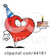 Clipart Illustration Of A Red Heart Birthday Character Wearing A Hat And Holding A Cake by Hit Toon