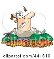 Royalty Free RF Clip Art Illustration Of A Cartoon Angry Man Watching Another Leaf Fall On His Pile by toonaday