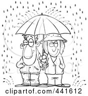 Royalty Free RF Clip Art Illustration Of A Cartoon Black And White Outline Design Of A Couple Sharing An Umbrella In The Rain by toonaday