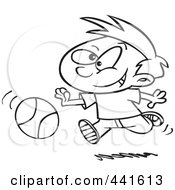 Royalty Free RF Clip Art Illustration Of A Cartoon Black And White Outline Design Of A Boy Dribbling A Basketball