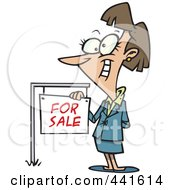 Royalty Free RF Clip Art Illustration Of A Cartoon Female Realtor By A For Sale Sign by toonaday