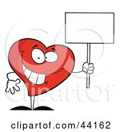 Clipart Illustration Of A Friendly Heart Character Holding A Blank White Sign by Hit Toon