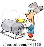 Royalty Free RF Clip Art Illustration Of A Cartoon Woman Reading A Raffle Ticket by toonaday