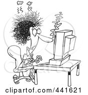 Royalty Free RF Clip Art Illustration Of A Cartoon Black And White Outline Design Of A Woman Covered In Soot At A Computer