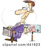 Royalty Free RF Clip Art Illustration Of A Cartoon Male Realtor Leaning On A Sale Sign by toonaday