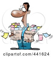 Royalty Free RF Clip Art Illustration Of A Cartoon Man Carrying Bags Of Bills And Receipts