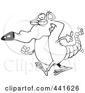 Royalty Free RF Clip Art Illustration Of A Cartoon Black And White Outline Design Of A Rat Walking by toonaday