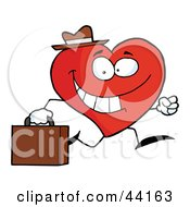 Happy Business Heart Character Wearing A Hat And Running To Work